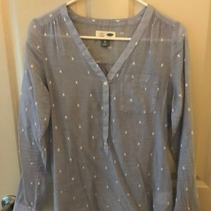 Old Navy Blue with White Dots Tunic size XS